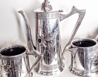 Silver Tea Pot, Silver Tea Set, Antique Tea Set, Cream and Sugar, Ornate Tea Set,  Antique Tea Pot Set, Tea Pot Set, Etched Silver Tea Set
