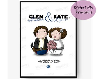 Star Wars Save the Date Digital / Han and Leia save the date / Digital file