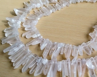 Raw Natural Rock Crystal Quartz Point Beads 15 inches Strand Rough Clear Quartz with Free Shipping