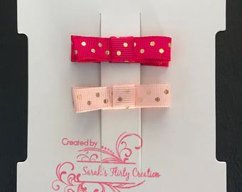 Hot Pink and Light Pink Dot Bow Set