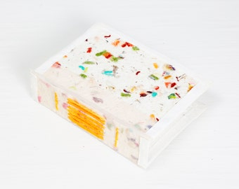 "4x5"" Journal, yarn paper cover, plain page blank journal handmade paper journal, guestbook, sketchbook, fine art paper, yarn paper, book"