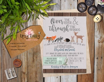 Long Distance Baby Shower Invitation, Woodland Rustic Animals Forrest Friends Fox Shower By Mail Animal Customized (I Design, You Print)