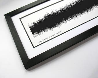 While My Guitar Gently Weeps - Art Print, Framed Print, Canvas - Sound Wave Art, Band Poster