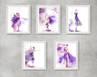 Ballet Art Print Set, Ballerina print, Set of 5 prints, ballet in purple, watercolor painting of ballerina, modern wall art, dance art