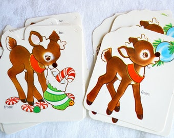 Vintage Christmas Gift Tags - Rudolph with Stocking - 14