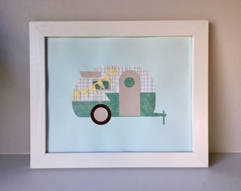 """8""""x10"""" 3D Layered Paper Art Print - Green and Yellow Camper"""