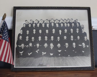 Military Photo in Frame, Signed, Framed Navy Photo, Group Picture, Framed Group Photo, WWII Photo in Frame, Picture of Sailors, Troop Photo