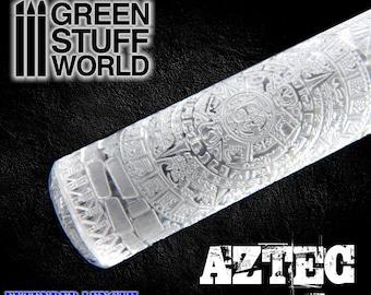 Rolling Pin - AZTEC Texture - Warhammer Bases - Lizards - Green Stuff - 40K