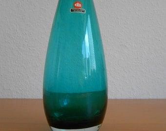 "Vintage Ingrid smoked glass vase 1960-1970 green ""Nilgrün"""