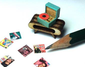 Quarter Scale Record Player Dollhouse Miniature- 1:48 1/4 Mid Century