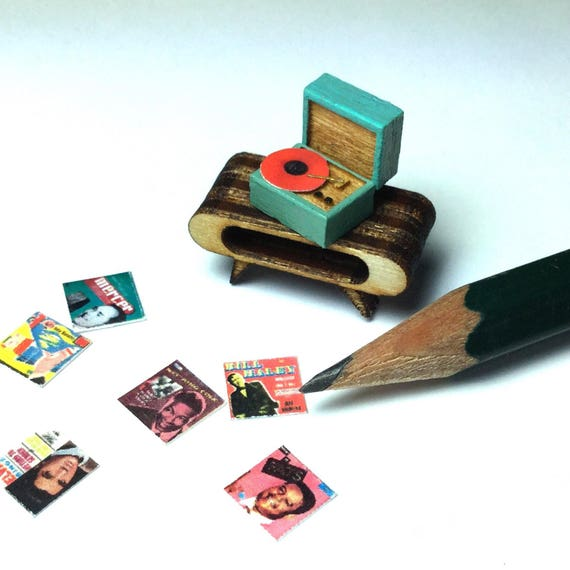 Quarter Scale Record Player Dollhouse Miniature- 1:48 1/4 Mid Century