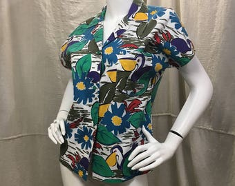 Retro Hawaiian Style Shirt, Pelican Short Sleeve Collared Button Down Top Medium Small