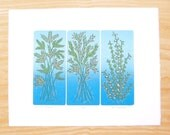 "Woodblock Print ""Summer Evening"" Blue Blendroll Plant Print"