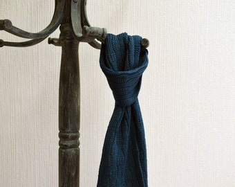 Children's Wool Scarf, Knitted Scarf, Short Scarf, Merino Scarf, Turquoise, Teal Blue