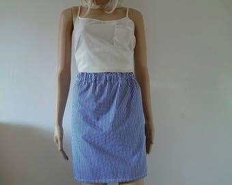 Blue & White Candy Stripes Skirt