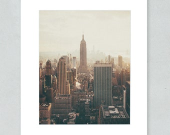 New York City Art, Manhattan Skyline NYC Wall Decor, 8x10 Matted Print, 'Empire State'