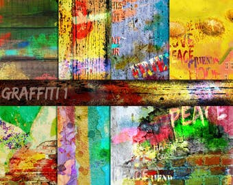 Graffiti paper, Grunge Papers, Brick wall Papers, Hand Painted Papers, City Papers, Teenage Papers, Instant Download, Photo Background