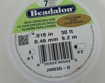 Beadalon .018 7 Strand Gold Colour Wire - 30ft