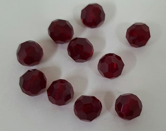 Swarovski 6mm Round (5000) Faceted Crystal Beads - RUBY x 10 Beads
