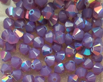 CYCLAMEN AB Swarovski 4mm Bicone Faceted Crystal Beads - Select 10, 20, 50 or 100