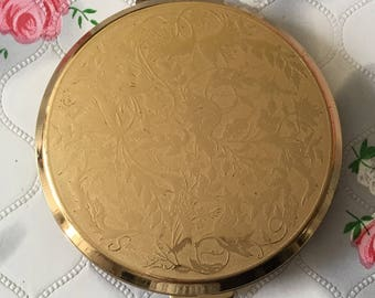 Vintage Stratton compact mirror 1990s Stratton convertible compact Mother's Day gift for her gold tone powder compact vintage compact