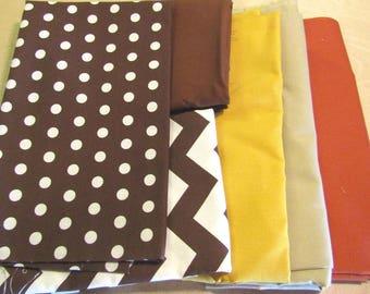 Brown Fabric Bundle, Remnant Fabric,  Chevron Fabric, Polka Dot Fabric, woven cotton