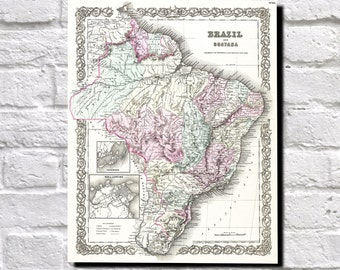 Vintage Map of Brazil, Guyana, 1855 Colton Map of Brazil, South America Map Wall Art Decor, 9507