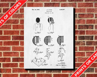 Fencing Mask Poster Fencing Art Fencing Mask Blueprint Fencing Mask Patent Print Sports Poster