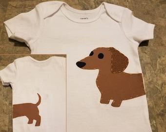 Dachshund bodysuit Onesie or Shirt, Wiener Dog Wrap-Around