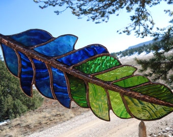 "stained glass feather"" GHOST DANCE FEATHER"" stained glass window panel, stained glass suncatcher,glass feather,shimmering handmade ripples"