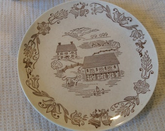 "Vintage Royal China ""Brown Country"" Dinner Plate"