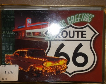 Vintage Box of Blank Season's Greetings Christmas Cards/ Route 66/  57 Chevy/ Diner/Unopened