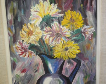 Vintage Flower Still/Oil On Board/Signed Dilly Sims