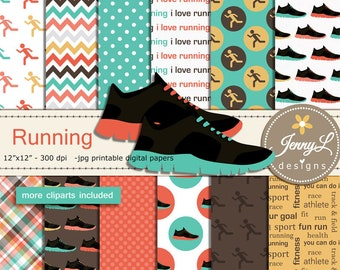 Running Digital Papers and Clipart SET, Sports, Exercise Fitness, Workout, Running Shoes, Track and Field, Cross Country Jogging Scrapbook
