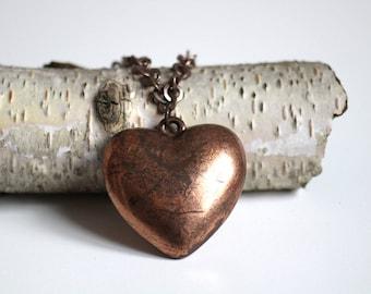 vintage heart necklace, copper heart pendant, original 1980 jewelry, copper bronze jewelry