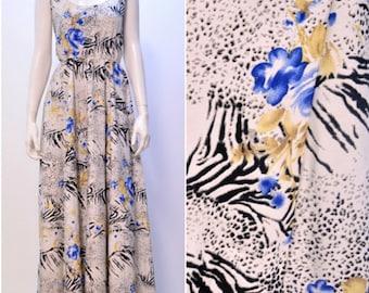 Summer Funky Retro leopard zebra print flora maxi dress white onesize 10 12 14