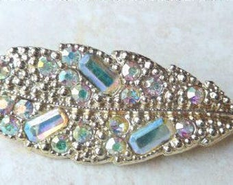 Vintage Alucraft Brooch, Aurora Borealis,  Rhinestone Leaf Brooch.