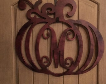 Monogram Pumpkin Door Hanger