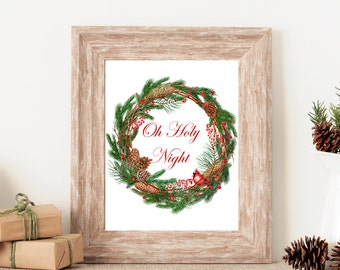 Oh Holy Night - Cardinal Christmas Wreath - Christmas Print - Instant Download