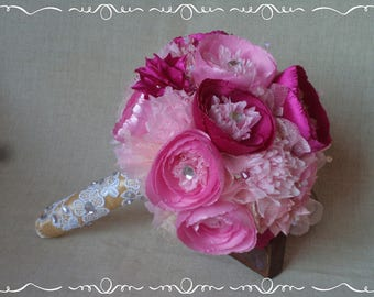 Glamour vintage pink light pink wedding peony bridal jewelry bouquet FREE SHIPPING