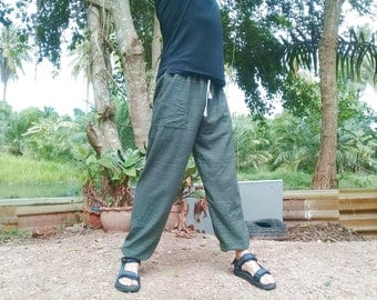 Baggy Pants  Good Quality Cotton Leggings Harem Genie Made to Fade. Olive Green stripe.