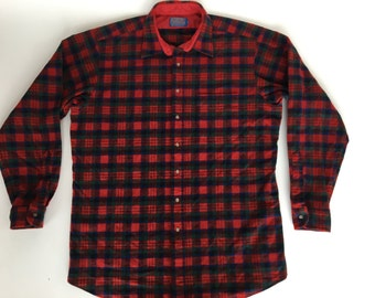 Vintage Pendleton 100% Pure Virgin Wool Red Plaid Shirt Size XL Tall