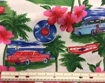 Tropical and Classic Car Themed Fabric, 100% Cotton