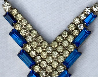 Rhinestone Necklace Art Deco Style Blue and Clear 8 1/2""