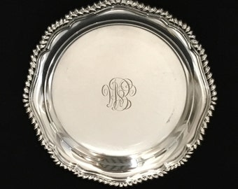 """Tiffany Antique Engraved Tiffany & Co Silver Soldered 5 3/4"""" Tray Trinket Tray Small Tray Silverplate"""