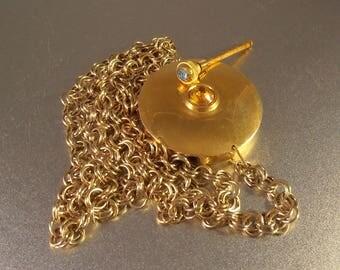 Rhinestone Vinaigrette Necklace, Perfume Bottle Pendant, Highly Gilded, Reverse Mirror 1950s - 1960s