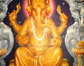 India Vintage Calendar  Print Hindu  God Ganesh Size approx 11x13  inches P70