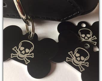 Pet ID Tag Dog - FREE SHIPPING (Canada) engraved free - Black Skull Design - Shipped from Canada