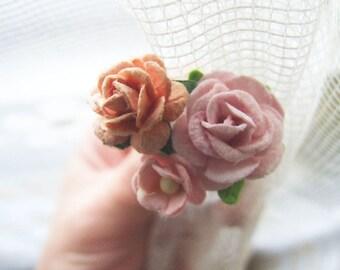 Rose Bobby Pins Set, Rose Hair Pin, Flower Clips, Garden Wedding, Flower Girl Hair Clips Rose Hair Clip, Flower Bobby Pins Set