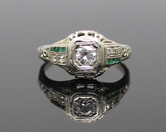 GIFT IDEA !!  Victorian Era 0.25 CTW Genuine Diamond with Genuine Emeralds Filigree Solid 18K White Gold Ring Size 7
